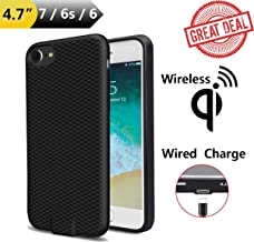 Wireless Charger Case Qi Enabling Charging Receiver Adapter for iPhone 7 6S 6 Wired or Cord & Cordless Charge Compatible 4.7' Phone Back Cover Built-in TI Module Receptor & Traditional Plug in Port