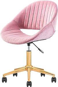 OVIOS Cute Desk Chair,Plush Velvet Office Chair for Home or Office,Modern,Comfortble,Nice Task Chair for Computer Desk. (Golden-Pink)