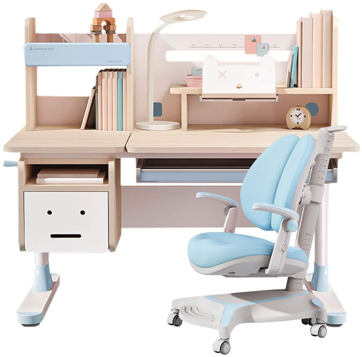 Buy Wood Adjustable Height Kids Study Desk with Chair Drafting Table Computer Station Built-in Bookshelf Hutch Multi Function (Blue, Wood of Fir) Online in Turkey. B08D3H8JQW