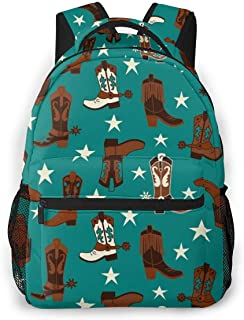 School Backpack for Boys Girls,Perfect Fit Kids Elementary School Teenage Junior Middle School Bookbag Student Stylish Colourful Teal Cowboy Boots Travel Book Bag