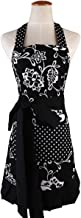 Butterme Lovely Classic Style Women's Cooking Apron Kitchen Apron Baking Apron with Two Large Front Pockets Great Gift for Wife or Ladies (Black)