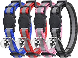 Breakaway Cat Collar- Petbemo Reflective Cat Collars With Bell 4 Pack Adjustable Strap With Safety Buckle and Heavy-Duty Nylon Collar for Small Dog Or Cat, Neck 7-11 inch