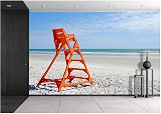 wall26 - Empty Life Guard Stand on The Beach - Removable Wall Mural | Self-Adhesive Large Wallpaper - 100x144 inches