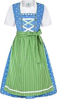 Isar-Trachten Kinder Dirndl Victoria 3-TLG. - Blau Grün - Traditionelles Mädchen Trachtenkleid Gr. 98-152