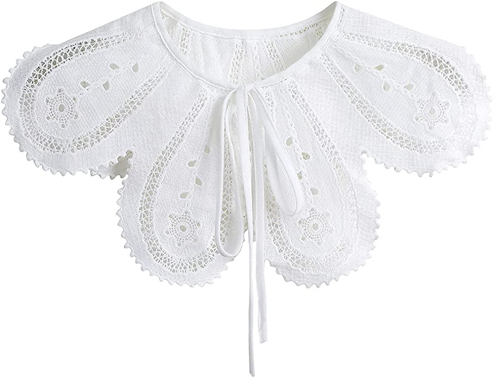 YEKEYI Detachable False Collar Embroidery Neck Ruff Mini Cape Dickey Collar for Women Girls
