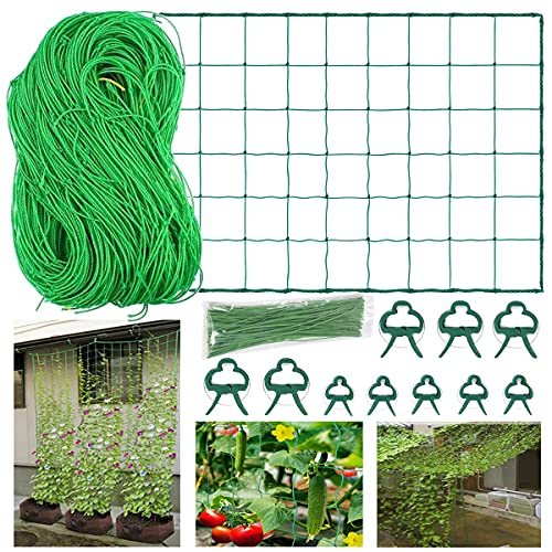 Kletternetz Rankhilfe Netz 5x1.8m Pflanze Spalier Netz für Kletterpflanzen,Nylon Ranknetz Rankhilfe Pflanzennetz Stütznetz Gartennetz für Kletterpflanzen,mit 10 Pflanzenclips 50 Pflanzenbindern