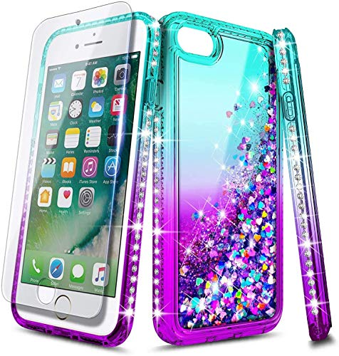 E-Began Case for iPhone 5/5s, iPhone SE (2016 Edition) with Tempered Glass Screen Protector, Glitter Flowing Liquid Floating Quicksand w/Bling Diamond, Shockproof Durable Girls Cute Case (Aqua/Purple)