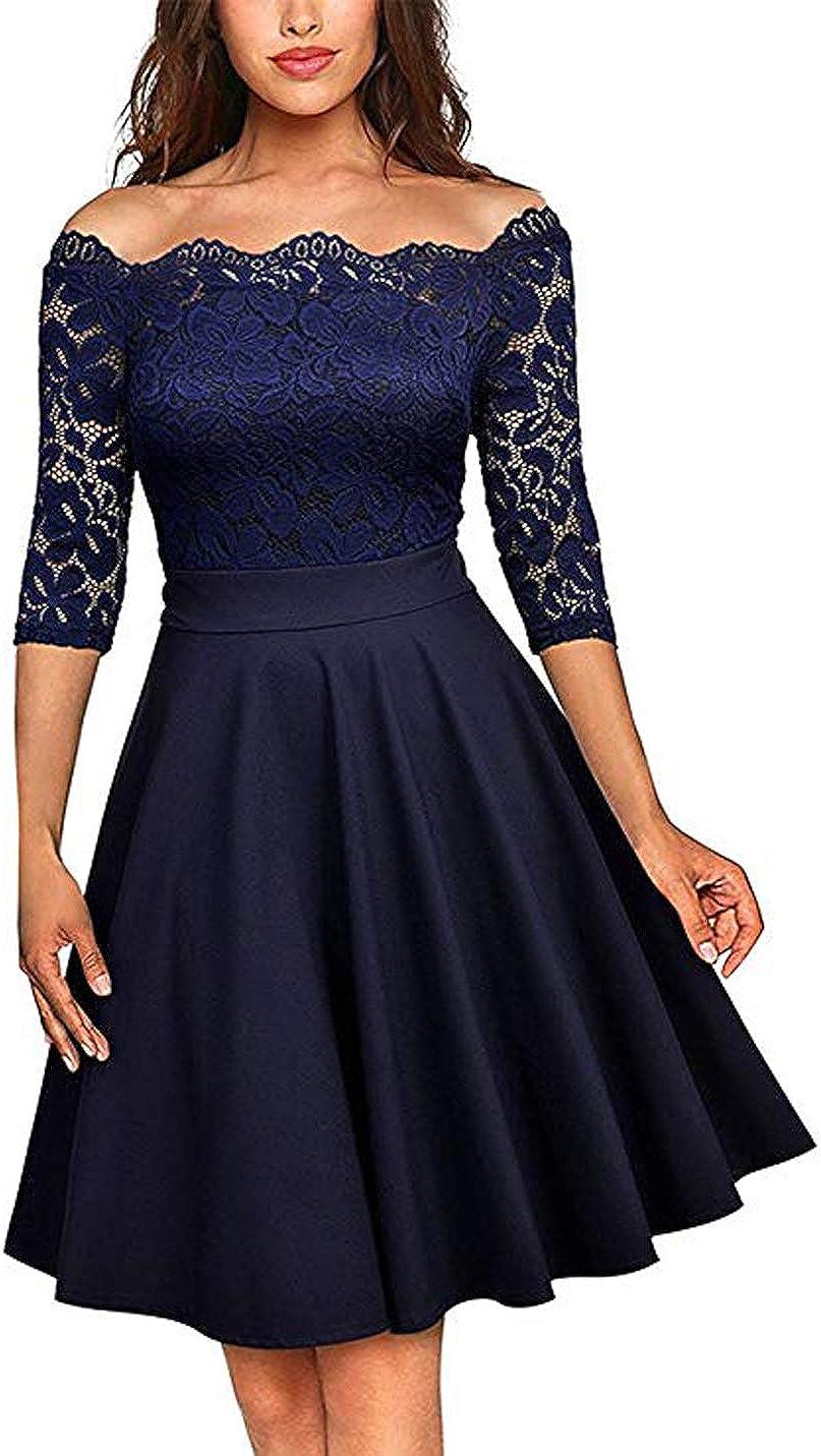 Viloree Womens Rockabilly Vintage Off Shoulder Flower Lace Cocktail Party Dress
