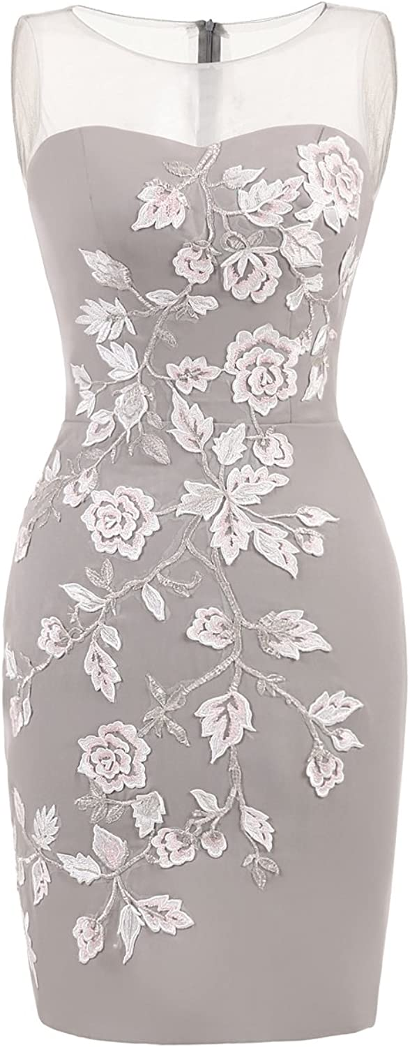 Graceprom Floral Silver Grey Knee Length Evening Dress Sleeveless Formal Gown