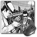 Mouse Pad Gaming Funcional Conjunto de música de jazz Alfombrilla de ratón gruesa impermeable para escritorio Ilustración de la banda de jazz tocando The Blues en Nueva York en The Moonlight Retro,Mul
