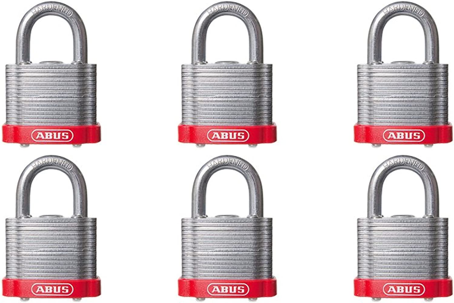 ABUS 41 40 Laminated Steel Safety Padlock Red Bumper Keyed Different  6 Pack