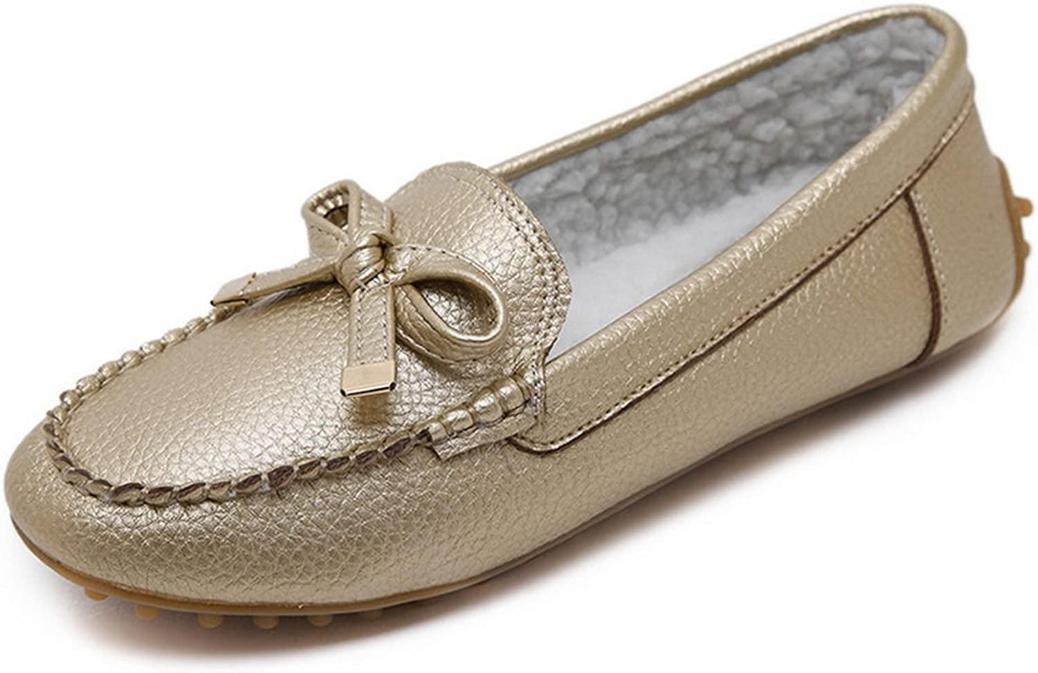 1TO9 Womens Bows Solid No-Closure gold Suede Flats shoes - 7.5 B(M) US