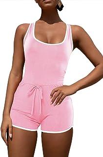 Selowin Womens Active Sleeveless Racerback Tank Top Bodycon Shorts Romper Jumpsuit
