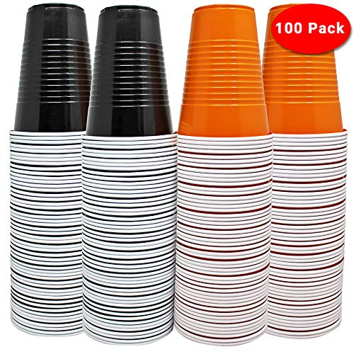 THE TWIDDLERS 100 große Halloween-Tassen - 50 orange & 50 Schwarze Partybecher - perfekt für Bier Pong - Hauspartys - BBQ's etc.