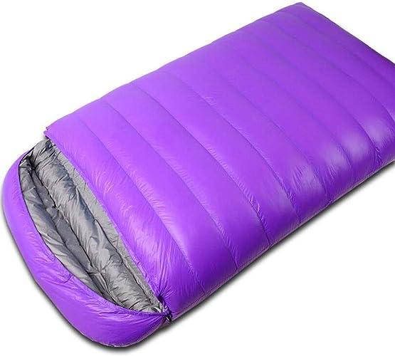 FEIYUESS Double Sac de Couchage, Camping en Plein air, Camping en Plein air, Sac de Couchage en Duvet Chaud et Confortable (Couleur   violet)