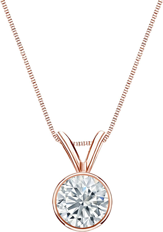 14k Gold Bezel Set Round-Cut Diamond 1 Factory outlet Solitaire 5-1 ct Pendant lowest price