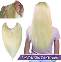 Invisible Wire Hair Extensions Human Hair Hidden String Crown Hair Extensions No Clips in Secret Hairpieces with Miracle Transparent Fish Line For Women #60 Platinum Blonde 18 inches 65g