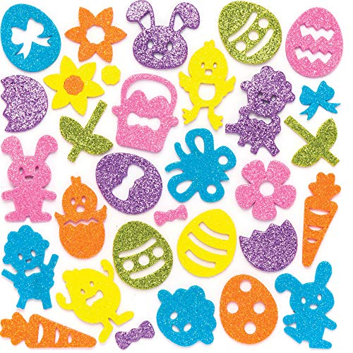 Baker Ross AW148 Easter Glitter Foam Stickers (Pack of 100) Embellishments For Kids Easter Arts and Crafts