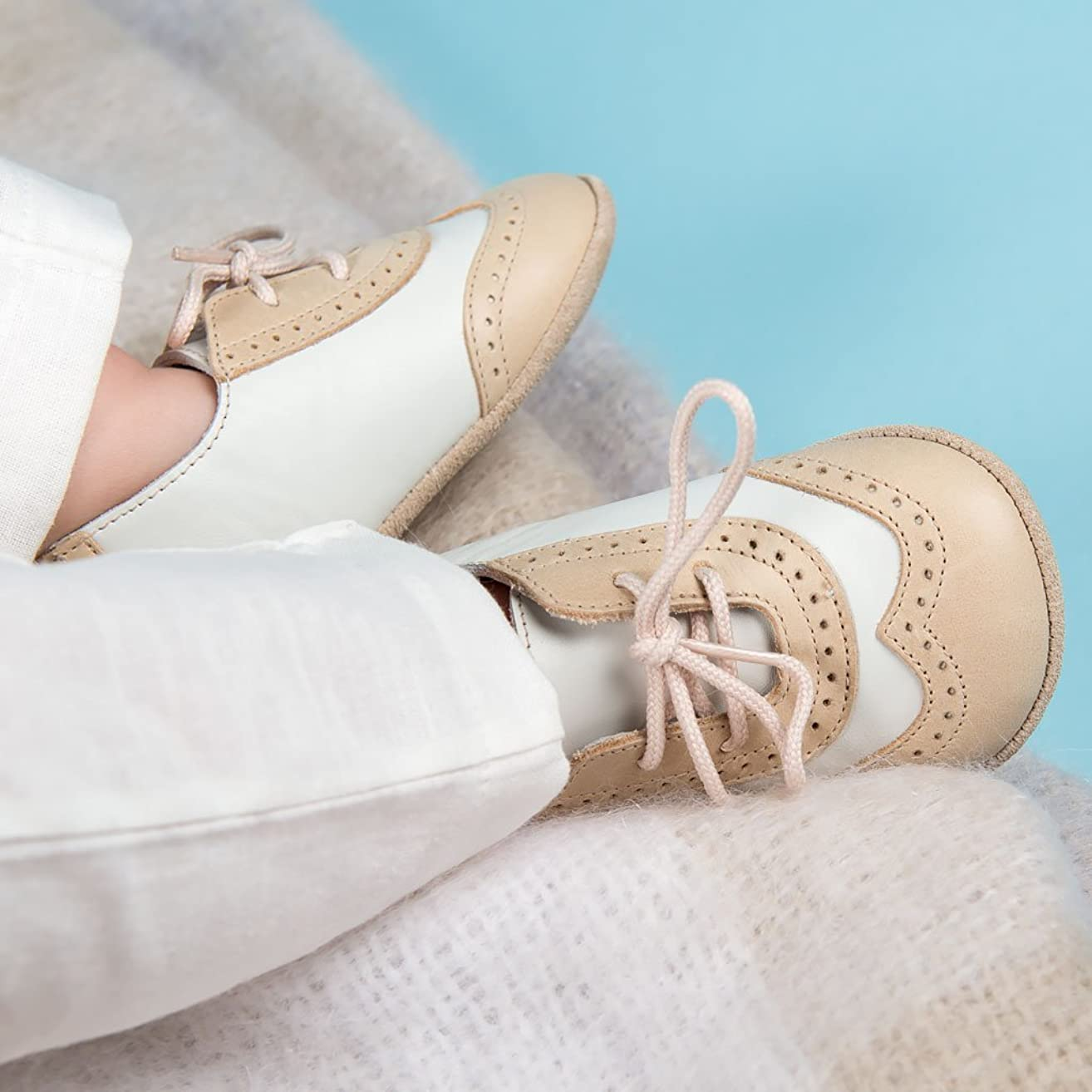 Baby Boy Wingtip Shoes - Beige and Ivory Two Tone baby shoes