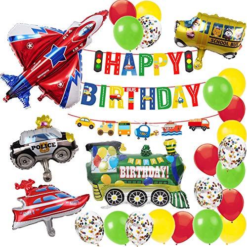 MAKFORT Geburtstagsdeko Junge Kindergeburtstag deko Birthday Decorations Kinder Geburtstag Folien Luftballon Flugzeug Zug Polizeiwagen Schulbus Yacht Ballons Happy Birthday Banner Geburtstag Deko