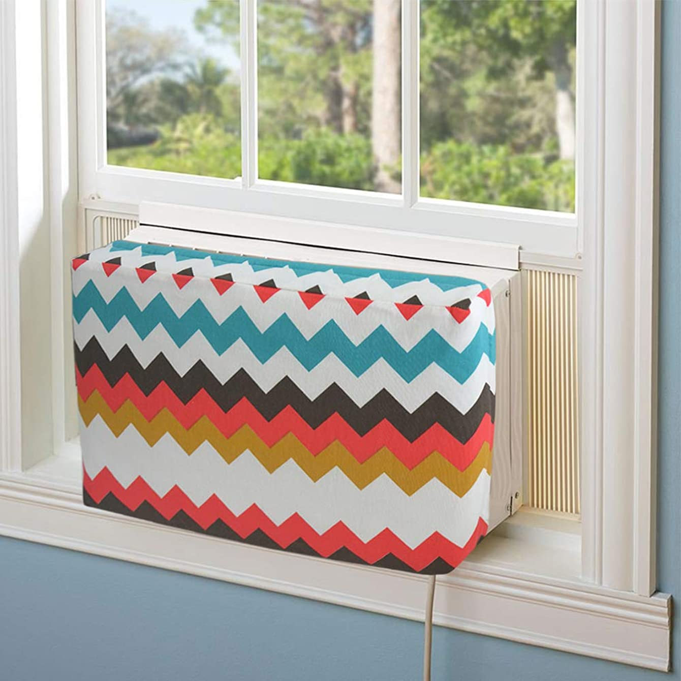 Jeacent Indoor Air Conditioner Cover Double Insulation, Colorful Wave Large