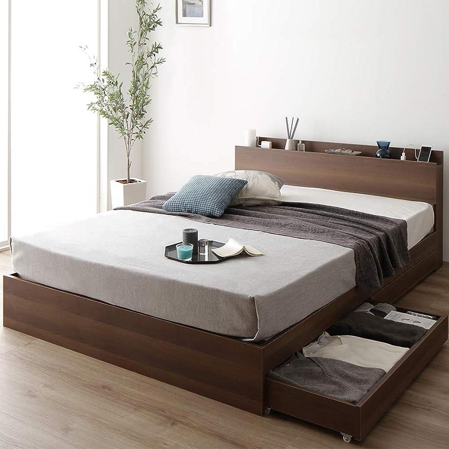 基本的な裁量ナチュラベッド 収納付き セミダブル ブラウン ベッドフレーム ハイクオリティモダン 木製ベッド キャスター付き 引き出し付き 宮付き コンセント付き