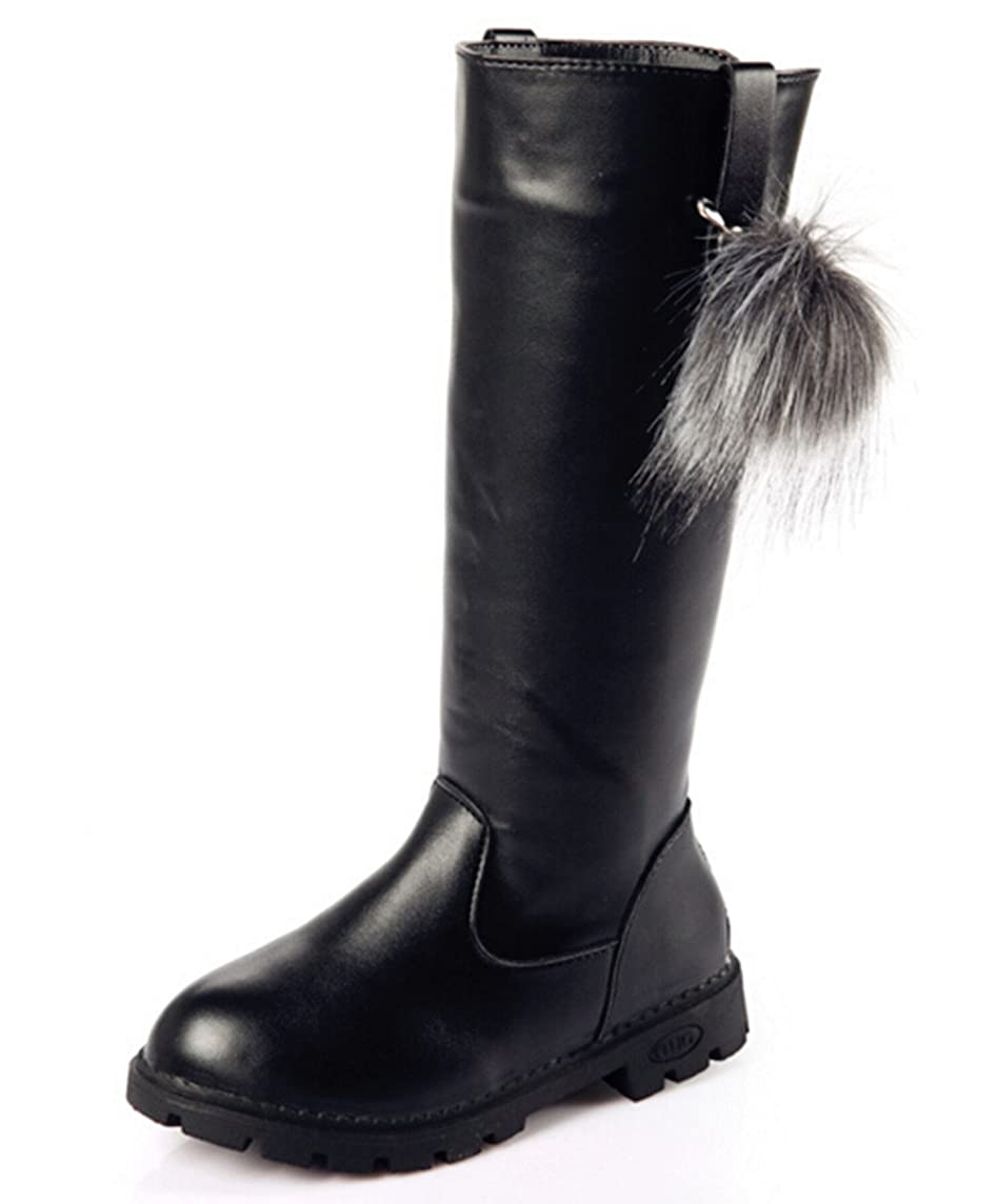 DADAWEN Girl's Waterproof Pom Pom Back Zipper Fur Tall Riding Boots (Toddler/Little Kid/Big Kid)