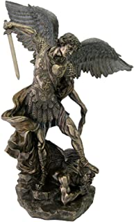 Top Collection 2ft. 3inch Large St Michael Statue Defeating Lucifer in Cold Cast Bronze- Saint Michael the Archangel of Protection and Justice - Collectible Catholic Statue