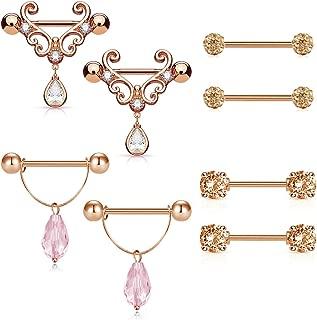 Nipple Ring, 14G Tongue Rings Nipple Piercing for Women Tear Drop CZ Dangle Stainless Steel Nipplerings Barbell Piercing