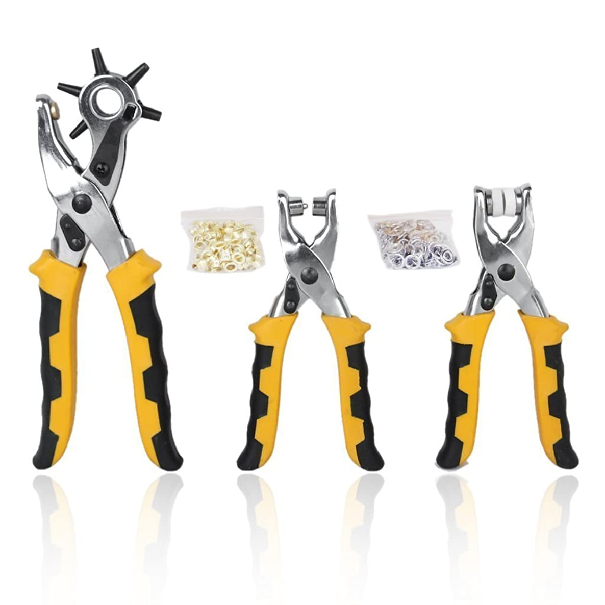 Hole Punch Plier,3pcs Card Leather Belt Hole Punch Eyelet Plier Snap Button Setter Tool Kit