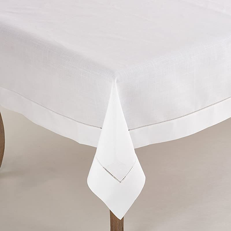 Fennco Styles Classic Solid Color Hemstitched Border Tablecloth For Dining Table Banquet Wedding Family Dinne 70 X90 Inch White