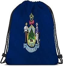 Classic Drawstring Bag Sport Storage Bag for Man Women state flag maine national augusta united states