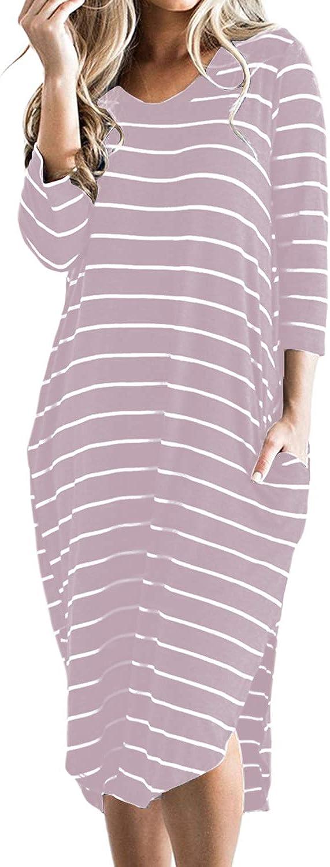 CNFIO Women T Shirt Dress Philadelphia Mall Oversized Striped 4 3 Max 90% OFF Boh Long Sleeves