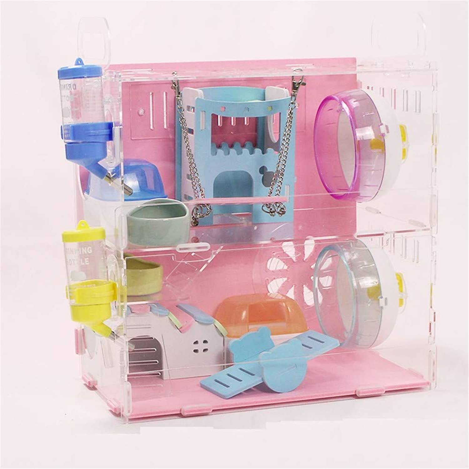 DRKJ Acrylic Hamster Cage Transparent Cage Double Layer Villa color Hamster