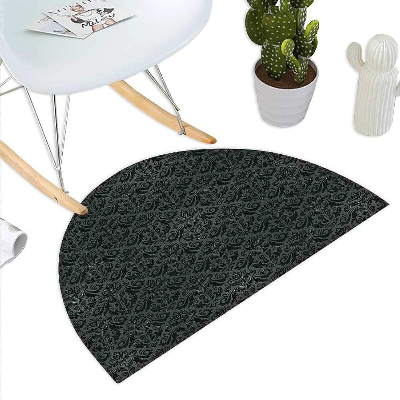 Dark Grey Semicircle Doormat Black Damask Arabesque and Floral Elements Oriental Antique Ornament Vintage Halfmoon doormats H 43.3  xD 64.9  Black Grey