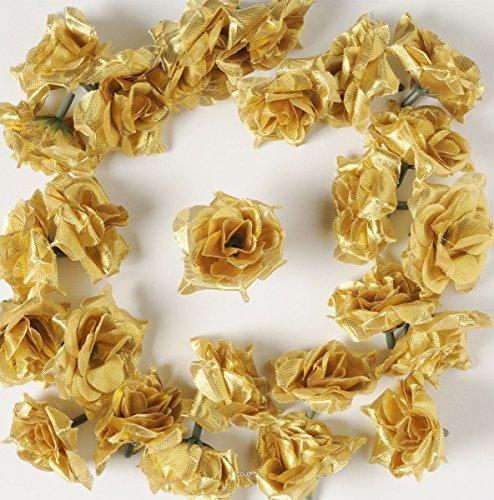 Artif-deco - Tetes de rose artificielle x 12 or d 5 cm pour boule de rose