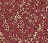 WALLCOVER Papel pintado barroco rojo oro clásico glamuroso diseño vintage barroco con ornamentos 10,05 x 0,53 m – Papel pintado de lujo para salón, dormitorio, pasillo