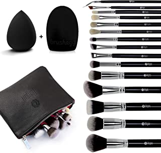 Makeup Brush Set,FEIYAN 15pcs Cosmetic Make up Brushes Synthetic Bristles Powder Foundation Eyeliner Blush Eyeshadow Blending Brush Set for Makeup with Makeup Sponge and Brush Cleaner