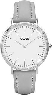 d40b06515de Cluse Women s La Boheme 38mm Grey Leather Band Metal Case Quartz Watch  CL18215