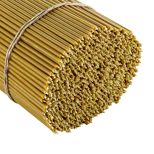 Danilovo 100% Pure Beeswax Taper Candles (Yellow) - Orthodox Church Candle Tapers for Prayer, Ritual, Christmas - No Soot, Dripless, Tall, Bendable, N120, Height 16 cm, Ø 5,4 mm (50 pcs - 167 g)