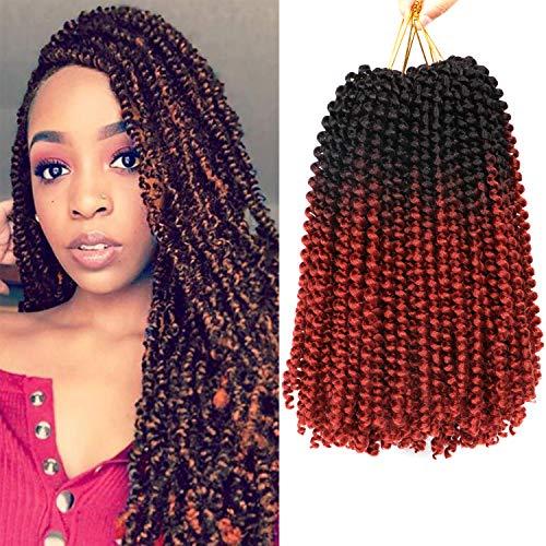 4 Packs 12 Inch Spring Twist Crochet Hair Synthetic Bomb Twist Crochet Braids Fluffy Braiding Hair Extensions (1B/350#)