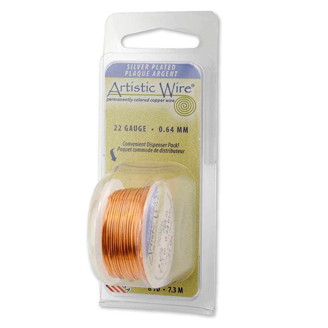 Artistic Wire 20-Gauge Silver Plated Peach Wire, 6-Yards