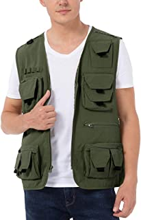 SPRING SEAON Men's Fishing Vest with Pockets Summer Outdoor Work Safari Travel Photo Jacket Vest