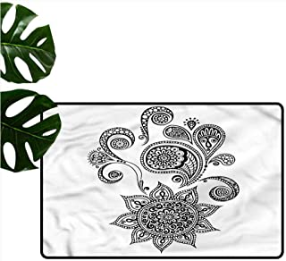 Welcome Door mat Henna Paisley Tattoo Design Quick and Easy to Clean W35 xL47