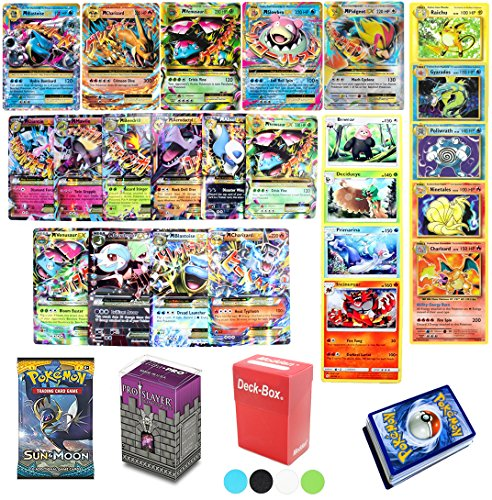 Assortmart 50 Pokemon Card Lot Mega Ex - Booster Pack - Elite Trainer Kit With Deck Box Random Bonus And Sleeves