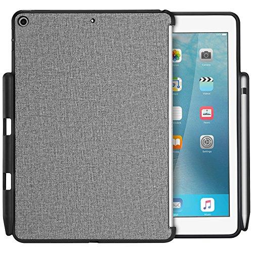 ProCase iPad 9.7 ケース 保護ケース バックカバー Appleペンシルホルダー付き iPad 9.7 インチ 2018 iPad 第六世代 / 2017 iPad 第五世代 専用 Appleスマートカバーに対応 -グレー