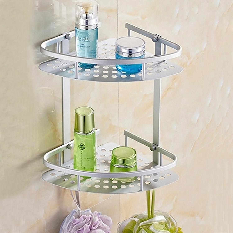 KHSKX Aluminum triangular double bathroom corner rack space, bathroom shelves, corrosion-resistant stainless steel racks