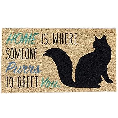 DII Indoor/Outdoor Natural Coir Easy Clean Rubber Non Slip Backing Entry Way Doormat For Patio, Front Door, All Weather Exterior Doors, 18 x 30  - Home Cat