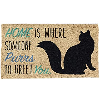 DII Natural Coir Fiber, 18x30 Entry Way Outdoor Door Mat with Non Slip Backing-Home Cat