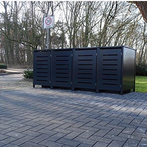 4 Mülltonnenboxen Modell No.6 für 120 Liter Mülltonnen / komplett Anthrazit RAL 7016 / witterungsbeständig durch Pulverbeschichtung / mit Klappdeckel und Fronttür